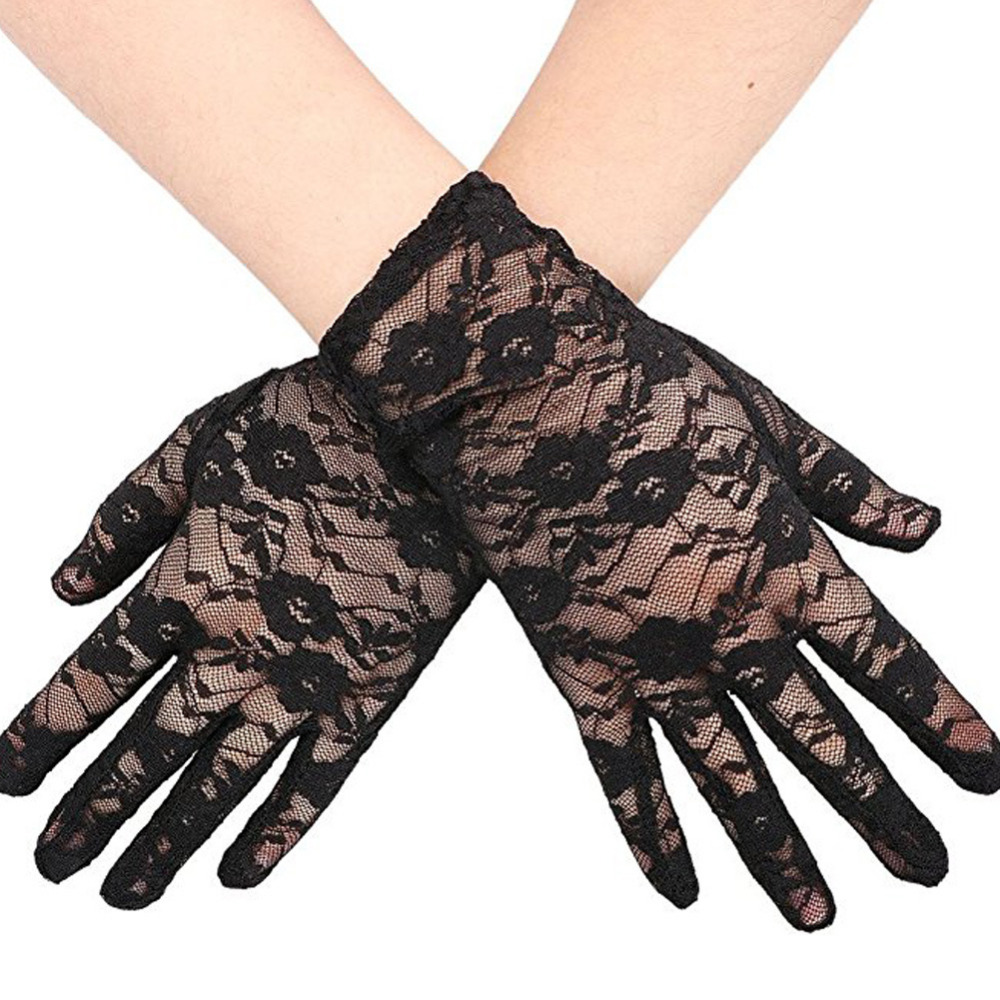 1 Pair 2017 Sexy Women Lace Hollow Out Gloves Mittens Lady Party Driving Sunproof Glove Girl's Elegant Flower Luvas Accessories