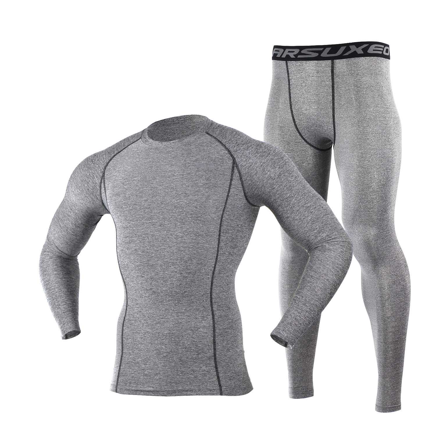 Image 4 - ARSUXEO Mens Compression Set for Running Jogging Sports Gym Fitness Tights Workout Crossfit Suits Long Shirt and Leggings Pants-in Running Sets from Sports & Entertainment on AliExpress