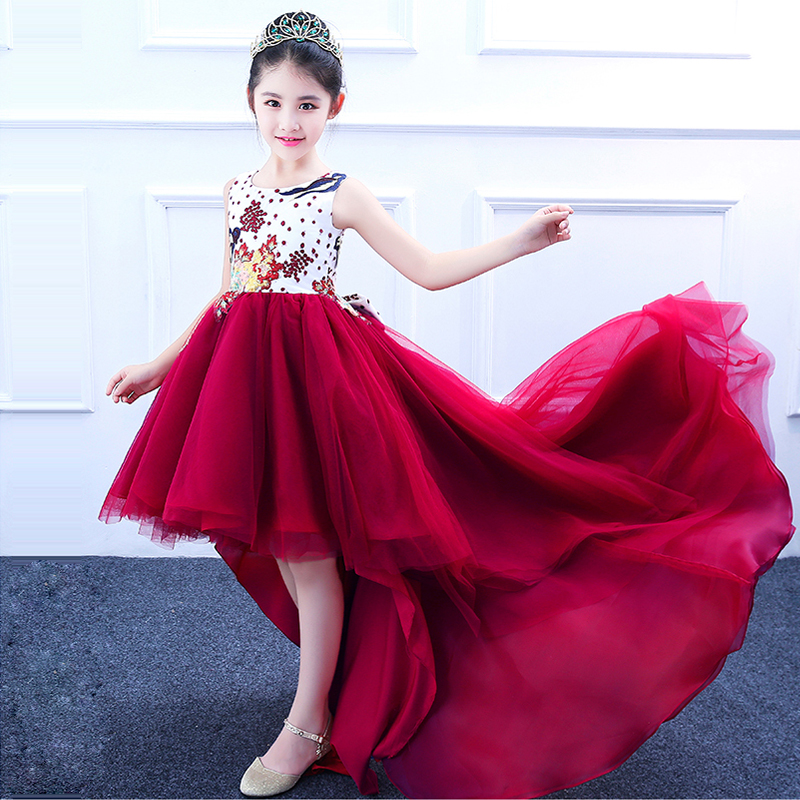 Luxury Trailing Princess Dress Embroidery Flower Girl Dress Wine Red Ball Gown Backless Girl's Dress Summer Communion Dress E328 цена 2017
