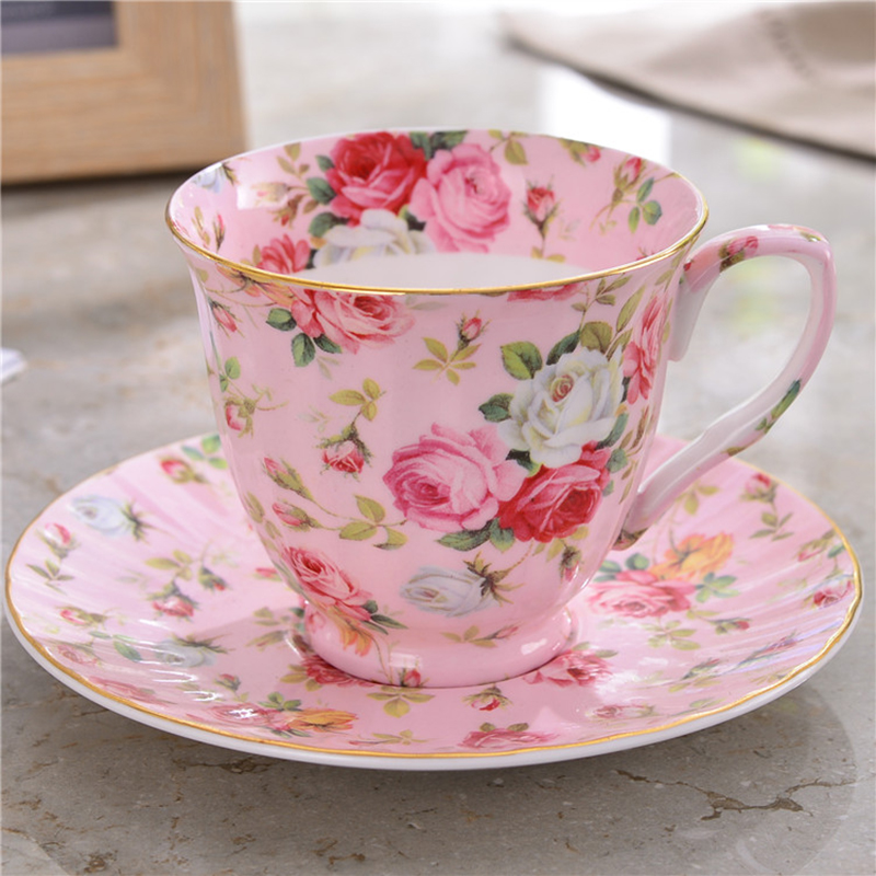 220ML British Pastoral Style Joyous Pink Rose Ceramic Fine Bone China Cafe  Coffee Milk Mug With Saucer Office Drinkware Teacup In Mugs From Home U0026  Garden On ...