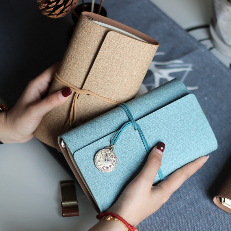 Harphia A6 loose-leaf retro strap creative hand book hand-in-hand book faux leather notebook hand in hand for education