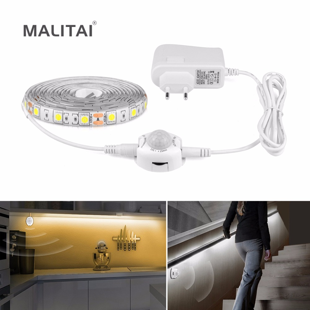 Wireless Motion Activated Sensor Night light 1M-5M PIR Sensor LED Strip 5050 Waterproof DIY Under Bed Cabinet light EU/US Plug biber 40202