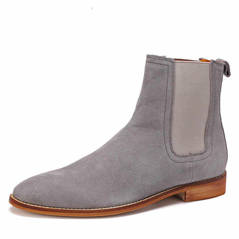 Ingiliz Tarzı erkek yarım çizmeler, yüksek kalite hakiki Deri Chelsea Çizmeler, Bullock Kauçuk Taban Chelsea Ayakkabı