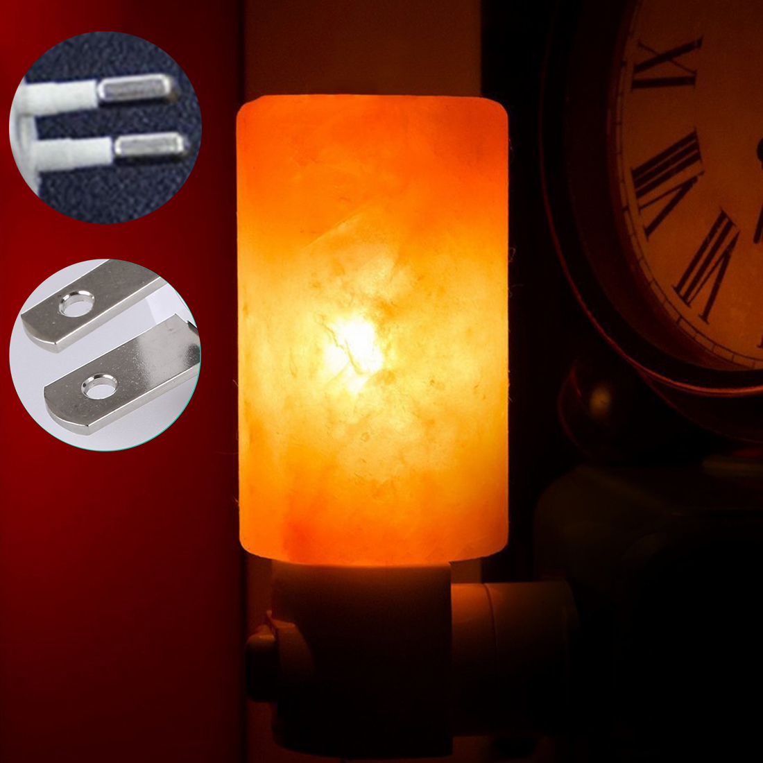Mini Cylinder Shape Wall Lamp Himalayan Salt Night Light Bedside Bedroom Home Decor Novelty Lighting US EU Plug