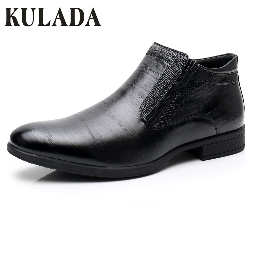 KULADA New Men's Shoes Spring&Autumn Leather Ankle Boots Men Zipper Side Boots Men Business Oxford Boots Men Dress Classic Shoes