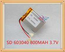 3.7 V 800 mAh 603040 células de li-ion del Polímero del Litio Li-po Batería Recargable Para Mp3 MP4 MP5 GPS bluetooth móvil PSP