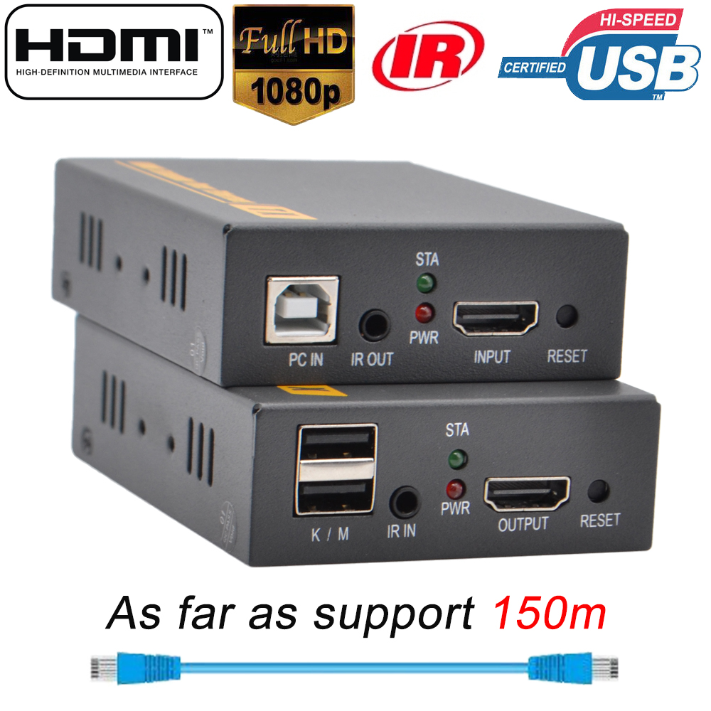 f73f71831bf 2019 150m HDMI USB Extender RJ45 IP Network KVM Over IP Extender Over Cat5  Cat5e Cat6 HDMI KVM Extender With Wide IR By UTP/STP