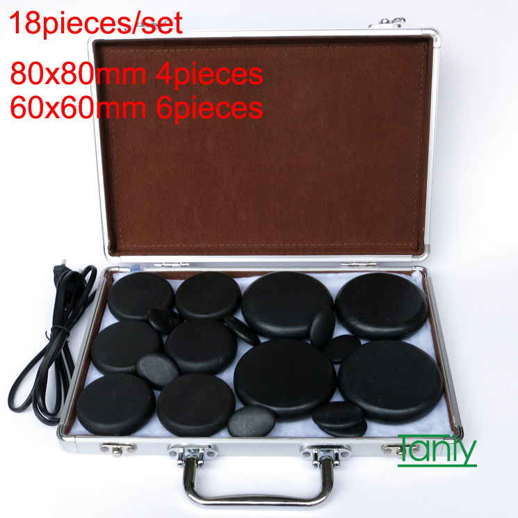 Hot spa rock basalt stone High quality Massage stones Natural Energy massage stone set massage lava with heater box 18pcs /set