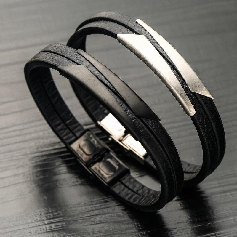 Armbänder & Armreifen Wrap-armbänder Naiqube Leder Armband Für Männer Edelstahl 2019 Mode Neue Wrap Armband Für Männer Schmuck Geschenk Profitieren Sie Klein