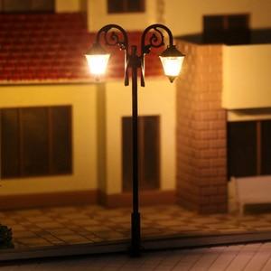Image 5 - Luces de calle miniatura de 65mm, luces LED de poste de lámpara, miniatura, doble cabezal, blanco cálido, LYM61, 5 uds.