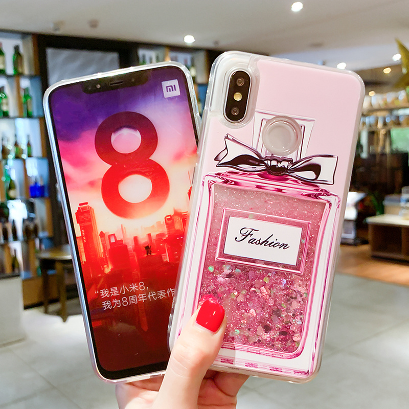 Image 3 - Liquid Quicksand Phone Case For Xiaomi Redmi Note 5 Pro Mi 8 Love Heart Glitter Cover For Redmi Note 4X Luxury Glitter Coques-in Fitted Cases from Cellphones & Telecommunications
