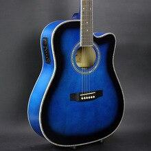 Gitarre Acoustic Elektrische Stahlsaite Balladry Folk Pop Flattop 41 Zoll Guitarra 6 Saite Blaues Licht Cutaway Electro