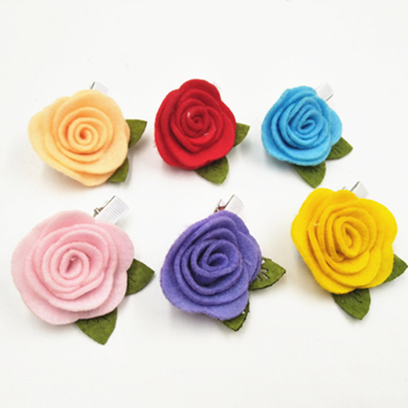 Top Quality Hair Clips Kids Felt Flower Hair Clips for Girls Small Flower Hair Clips Hairpins for Little Kids Hair Accessories m mism classic nonwoven flower for kids hairgrip girls children cute hairpins hair accessories head wear hair clips