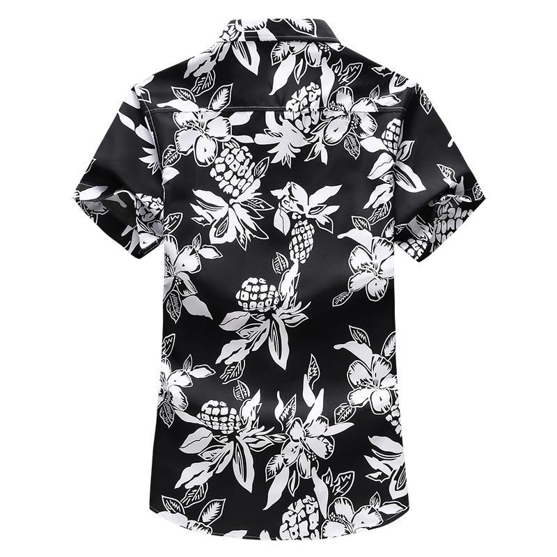 Large size M 7XL Floral Plant Mens Shirt Short sleeve Summer Dress Flower Hawaiian Shirt Slim fit Casual Blouse Men Blue in Casual Shirts from Men 39 s Clothing