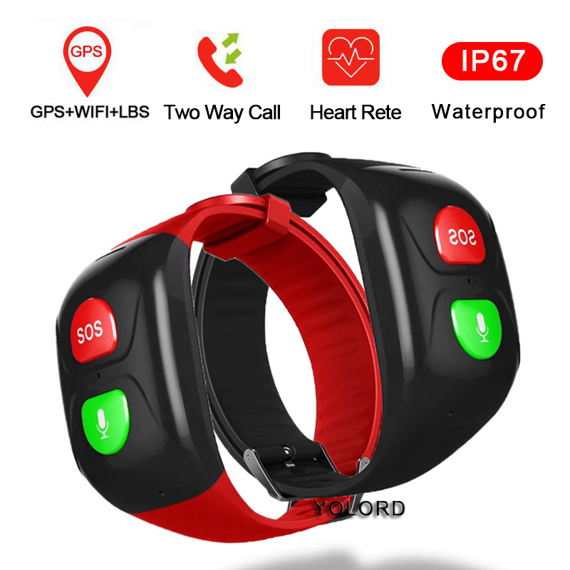 Elderly Older Old Man GPS+WIFI Position Swimming Heart Rate SOS App Remote Monitor Call Smart Band Watch Bracelet Smartband