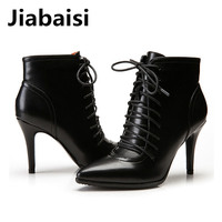 Jiabaisi Shoes Women Pointed Toe Tied Laces Heel Boots Banding Strap Suede Ankle Bootie Stiletto Classics