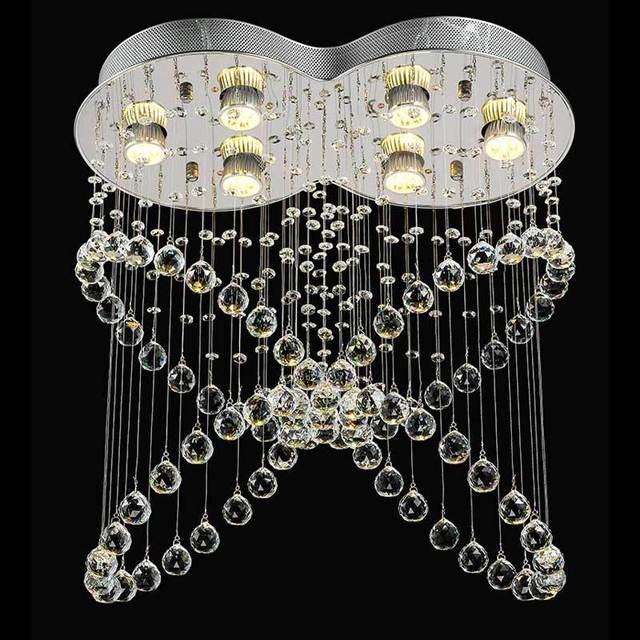 LED Hanging Lamp Butterfly Crystal Pendant Lights Modern Living Room Dining Room Hallway Decor Fixture 5W GU10 Bulbs 110-240V