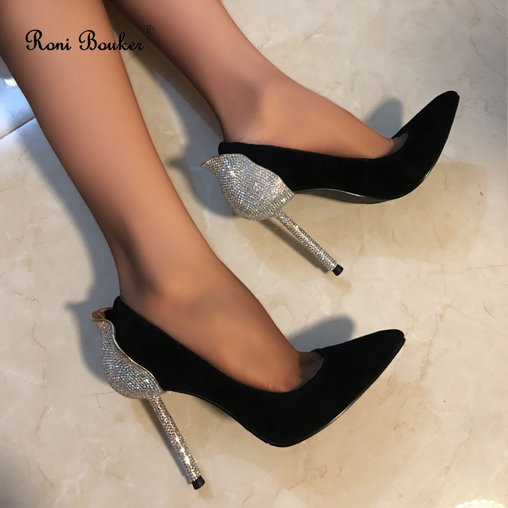 Roni Bouker Luxury Diamond High Heels for Woman Genuine Leather Handmade Shoes Lady Pumps Wedding Shoe Prom Heel SilverRoni Bouker Luxury Diamond High Heels for Woman Genuine Leather Handmade Shoes Lady Pumps Wedding Shoe Prom Heel Silver