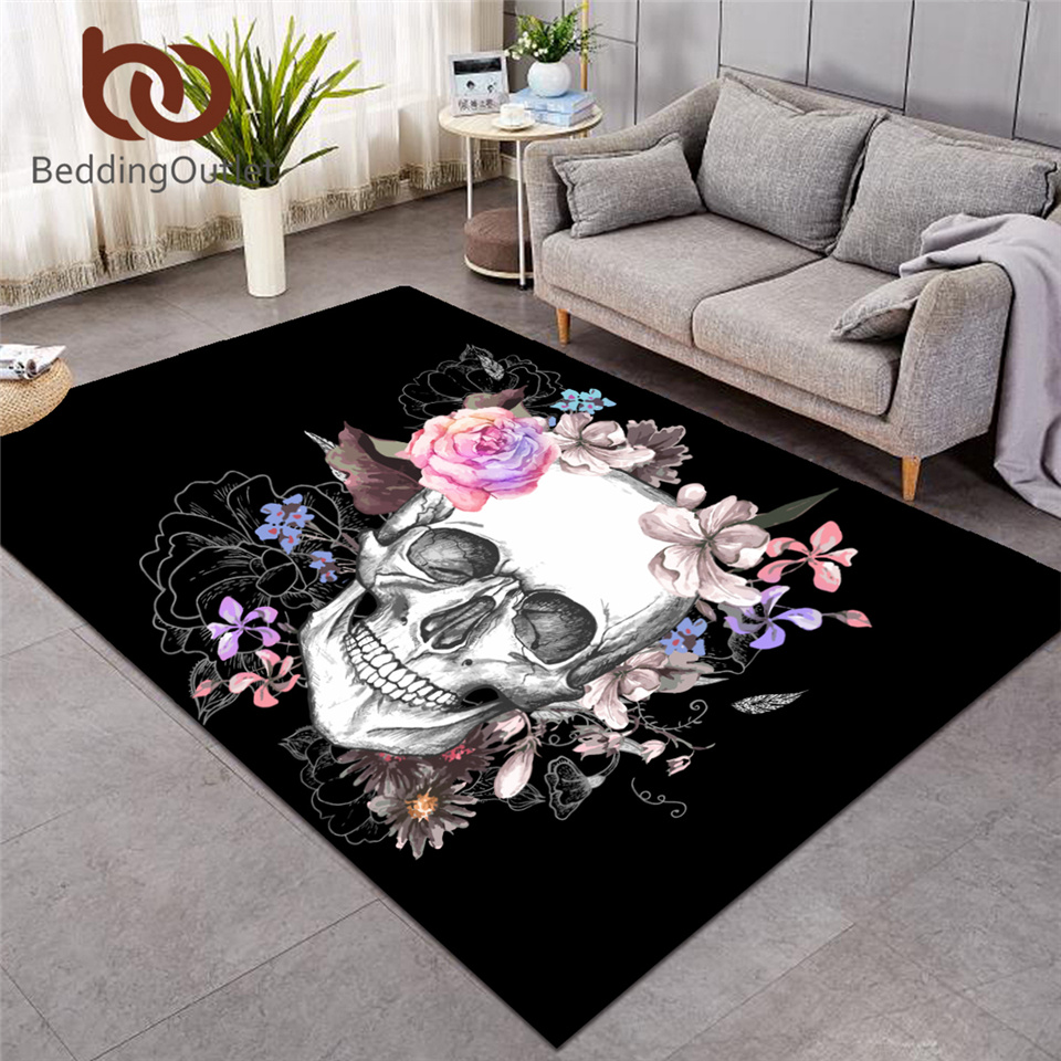BeddingOutlet Sugar Skull Carpets Large For Living Room Floral Bedroom Area Rugs Non-slip Gothic Floor Mat Home Decor Alfombra