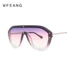 WFEANG New Sun Glasses Oversized Goggles Sunglasses Women Fashion Famous Brand Rivet Black Eyewear Gafas de sol UV400