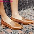 VINLLE 2017 Женщины Насосы Низкий Каблук Скольжения на Новый Весна Осень женщины Обувь Из Натуральной Кожи Краткий Квадратный Каблук Повседневная Обувь Размер 34-39