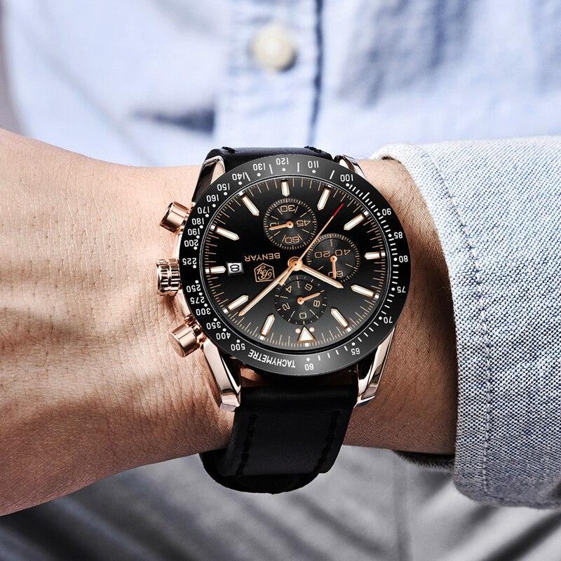 2019 Watch Men Luxury Brand BENYAR Mens Blue Watches Silicone Band Wrist Watches Men's Chronograph Watch Male Relogio Masculino