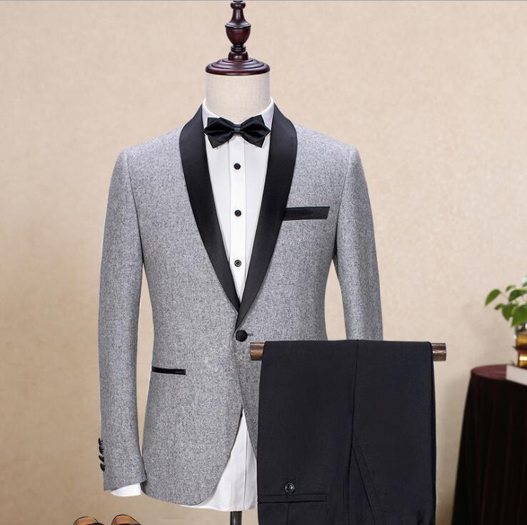 Marque laine hommes costumes gris noir veste Blazers Slim Fit mâle costume Tuxedos mariage bal Geroom Business veste + pantalon S-3XL
