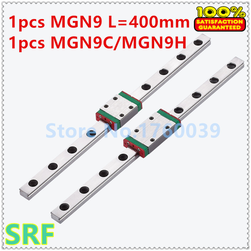 1pcs 9mm width Mini Linear Guide Rail MGN9 L=400mm guide way with 1pcs MGN9C(or MGN9H) Block for 3D Printer