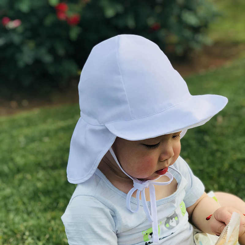 Mùa hè Cho Bé Hat Trẻ Ngoài Trời Cổ Tai Bao Da Chống TIA UV Bảo Vệ Bãi Biển Mũ Trẻ Em Bé Trai Gái Bơi Sập Nắp cho 4-20months