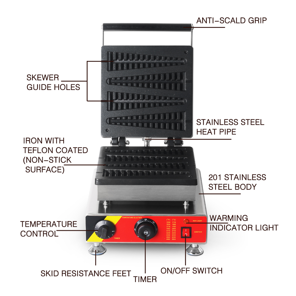 ITOP 1500W Commercial Waffle Maker Machine,Stainless Steel Waffle Baker Cake Oven Iron Hot Plate Cooking Tools  EU/US Plug