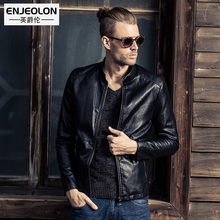 Enjeolon brand new Motorcycle Leather PU Jackets Men, Slim fit fashion Clothing, zipper Stand collar Male Casual Coats P231