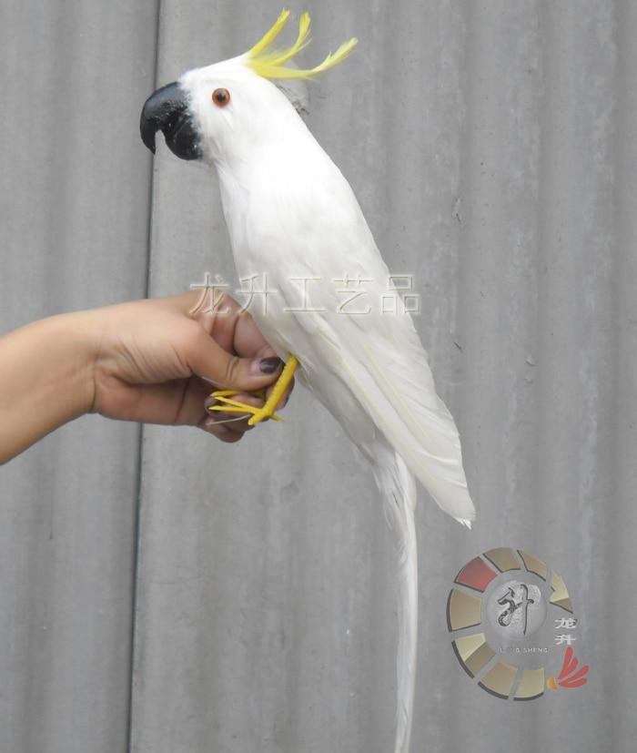 Belle Cacatoès jouet polyéthylène et fourrures simulation blanc oiseau poupée cadeau environ 43 cm 1386