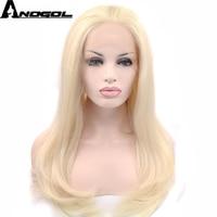 Anogol 613 Platinum Blonde High Temperature Fiber Perrque U Part Long Natural Wave Synthetic Lace Front Wig For Women Costume