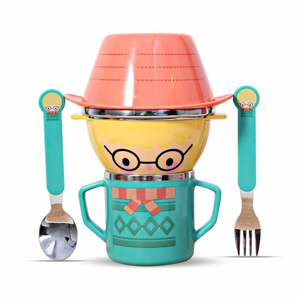 Mambobaby, 5 шт., Детские тарелки, чашка, тарелки, наборы, милый мультфильм, кормление, столовая посуда для малышей набор посуды для детей