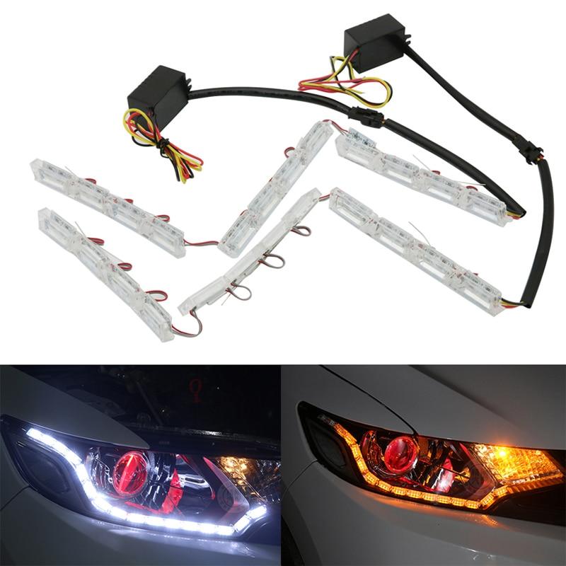 2x Flexible LED Car Daytime Running Light DRL Turn Signal Light For Audi A5 Q5 A6 A4 Q7 A3 A8 Q3 Mitsubishi Asx Lancer Outlander