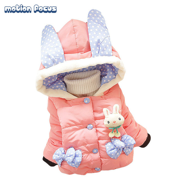 Winter Children Girls Down Jacket Cute Cartoon Rabbit  Baby Down Coat Kids Outwear Infant Clothes for Girl 1-2 Years