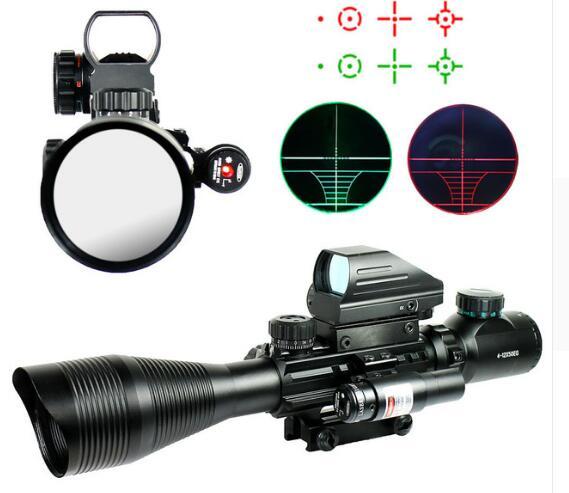 WIPSON 4-12X50EG Caça Airsoft Pistolas de Ar Scoeps Tactical Rifle Scope Mira Holográfica 4 Retícula de Mira Laser Combo Arma Chass