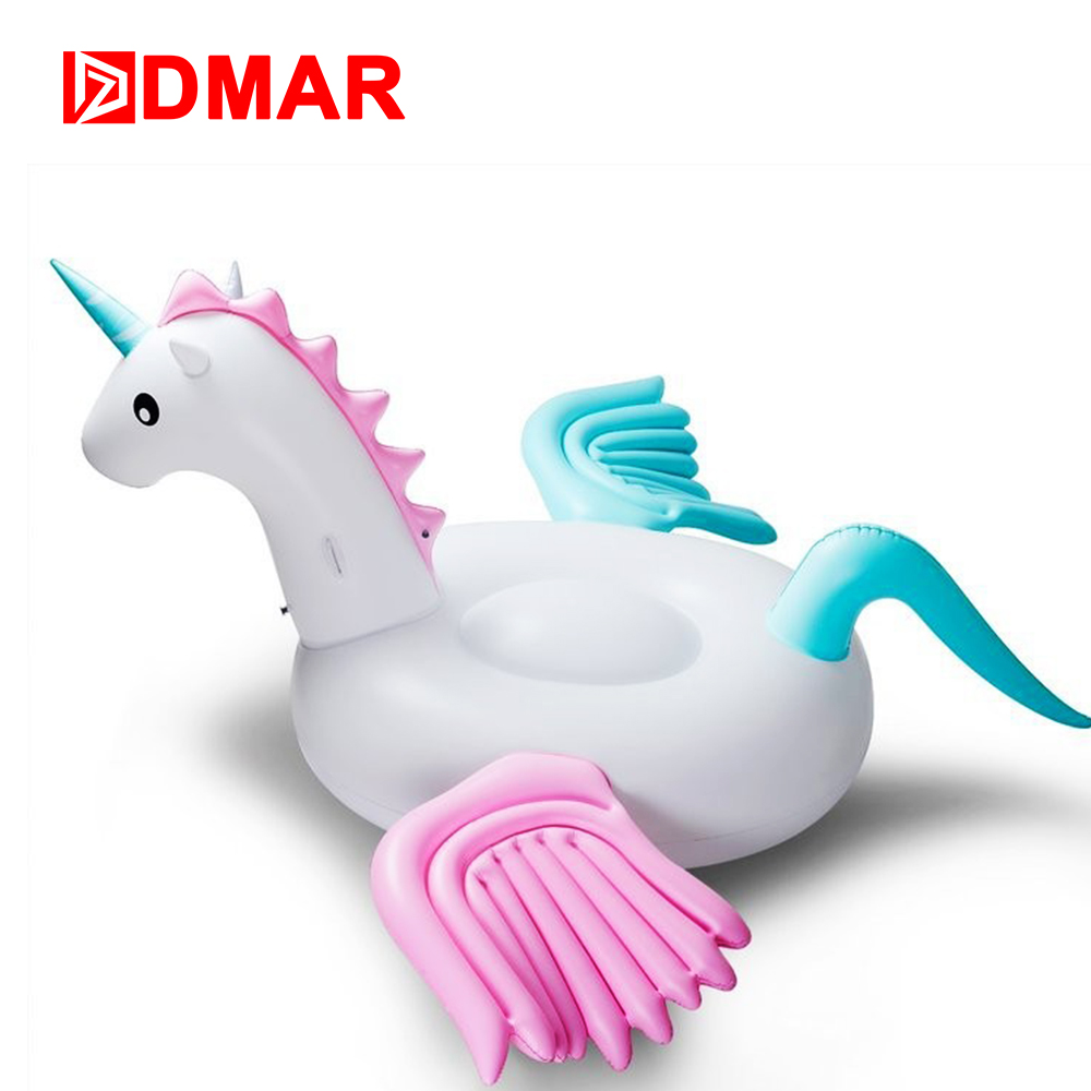 DMAR 250cm 98inch Inflatable Unicorn Pegasus Giant Pool Float Swimming Ring Circle Inflatable Mattress Beach Sea Party Toys