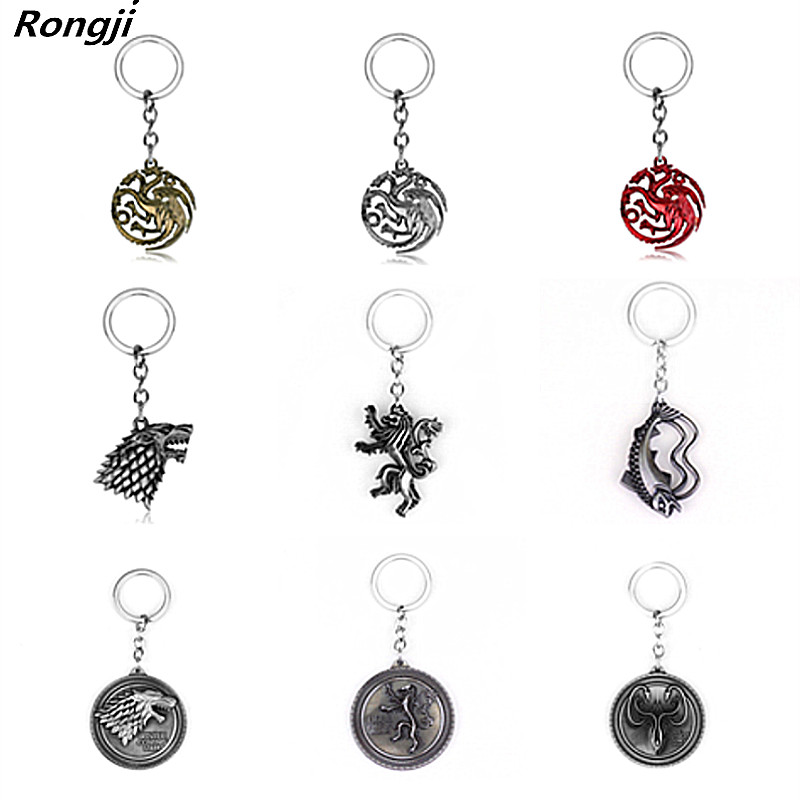 Movie Game Of Thrones House Stark Keychain 3 Colors Alloy The Song Of Ice And Fire Targaryen Dragon  Badges Keyring Gift