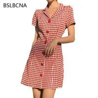 f3d69733ea28a Summer Dress Korean Style Retro Black White Plaid Dresses Women Single  Breasted Short Sleeve High Waist