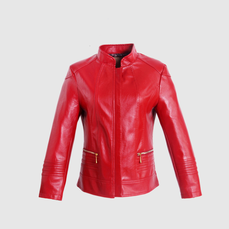 Autumn and winter women 's   leather   jacket casual short paragraph pu   leather   round neck women' s   leather