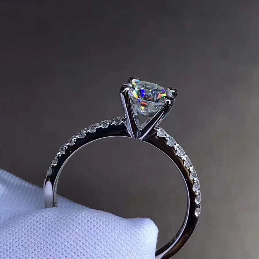 9K White Gold 1ct 2ct 3ct Classic Moissanite Ring Lab Diamond Jewelry Wedding Party Engagement Anniversary Ring Four Prong