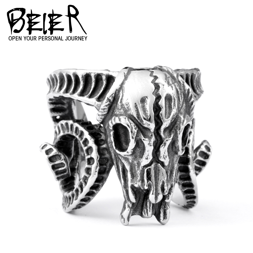 Open ring Stainless Steel Nose viking Ancient dish Sheep head Skull Ring Vintage Opening ring Men Jewelry BR8-042 stainless steel claw skull ring