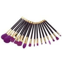15pcs Set Professional Purple Hair Makeup Brushes Powder Foundation Eyeshadow Blush Contour Brush Set Makeup Tools