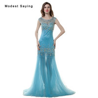 Luxury Blue Sexy See Through Mermaid Beaded Evening Dresses 2017 with Rhinestone Women Night Party Prom Gowns robe de soiree