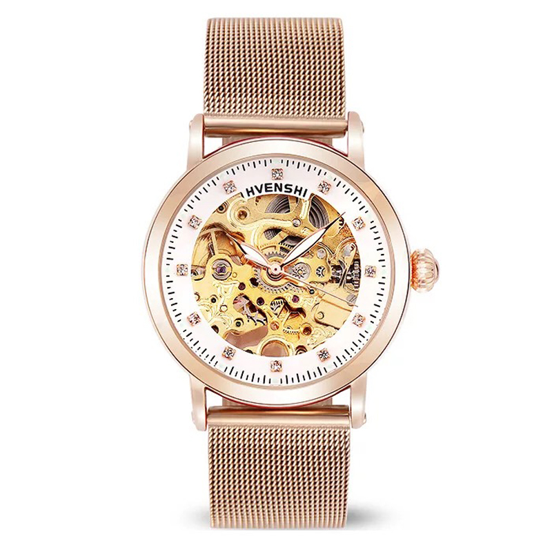 HVENSHI Watch women Automatic Waterproof Top Brand Mechanical Watches Full Stainless steel Classic Vintage Skeleton women