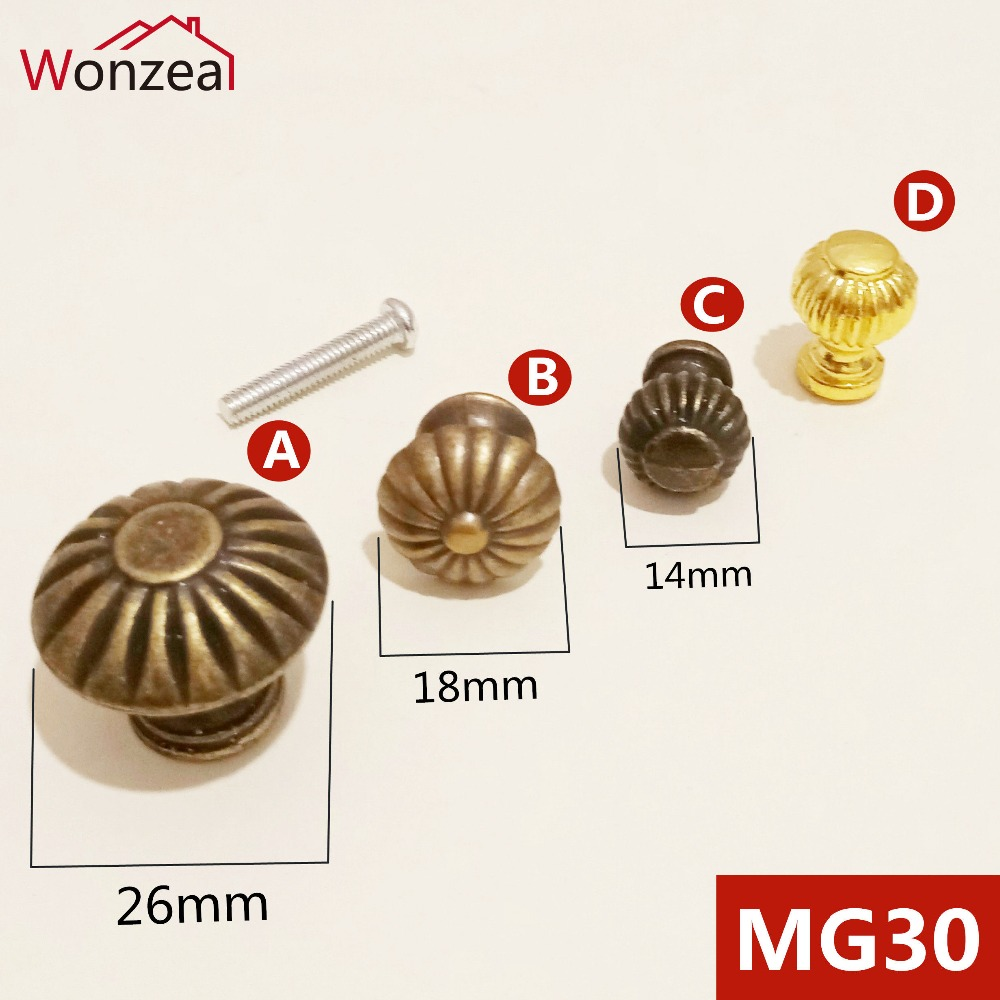 5pcs/Lot Wonzeal Vintage Small Case Cabinet Cupboard Drawer Pull Handle Dome Knob Jewelry Box Mini Decorative Knobs Bronze