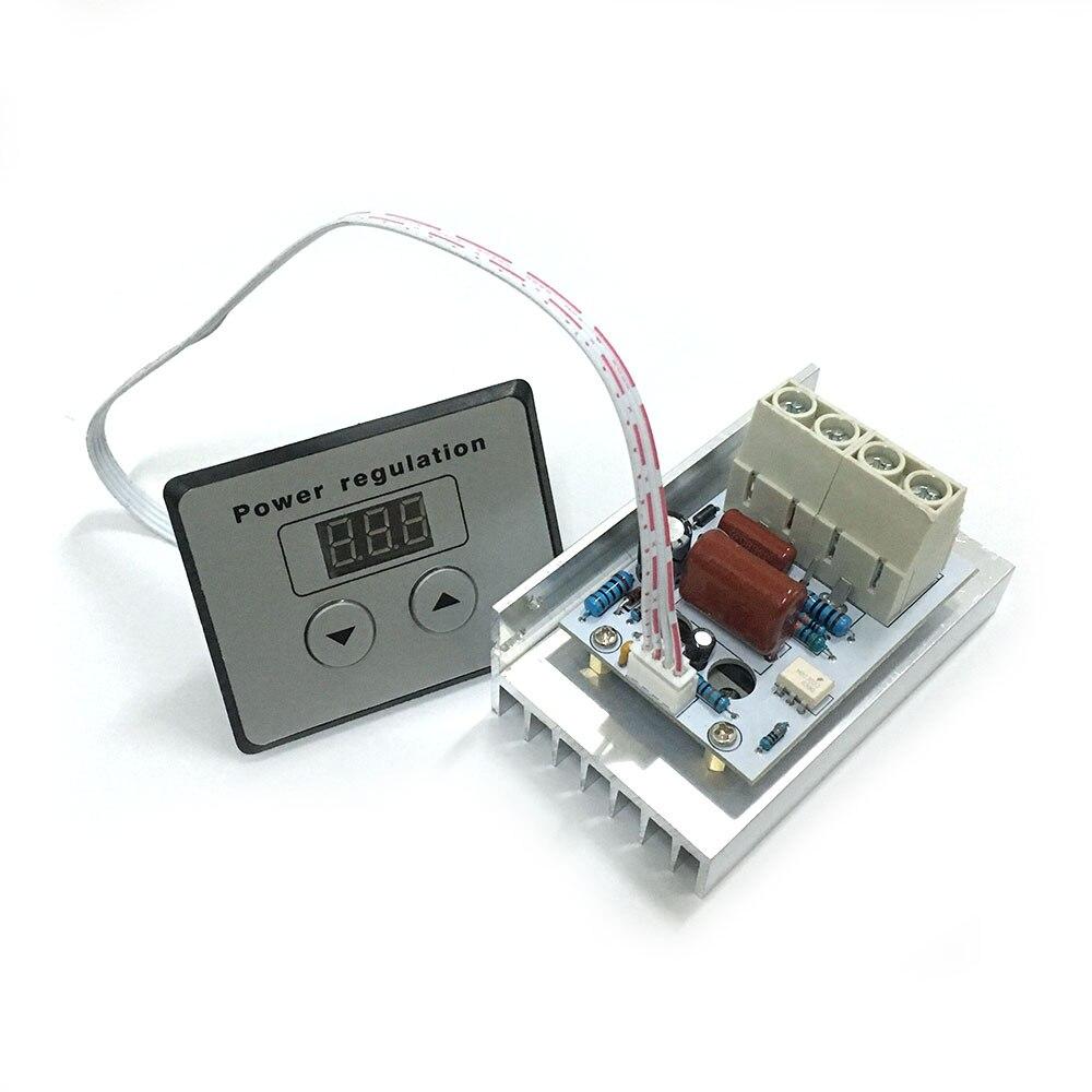 все цены на AC 220V 10000W SCR Voltage Regulator Motor Speed Control Dimming Dimmers Thermostat + digital meters онлайн