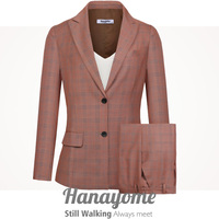Women's Two Pieces Office Lady Stripe Grid Blazer Business Suit Set Women Suits Work Pant Jacket Designer Suit Tux