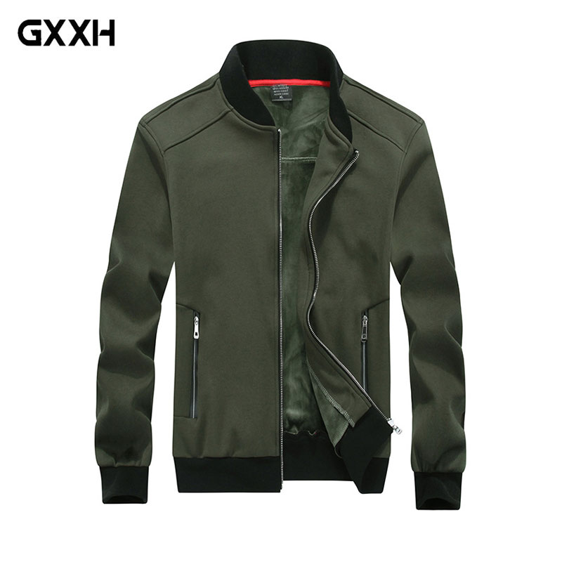 New men's Park Large size 8XL jacket Autumn and Winter Men's <font><b>Baseball</b></font> Collar plus Cashmere Coat Black Blue Army green Dark gray image
